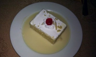 Tres Leches cake at the La Huaca Restaurant, Gran Azuero Hotel