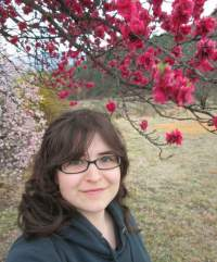 The author with cherry blossoms