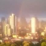 image of rainbow over Panama City